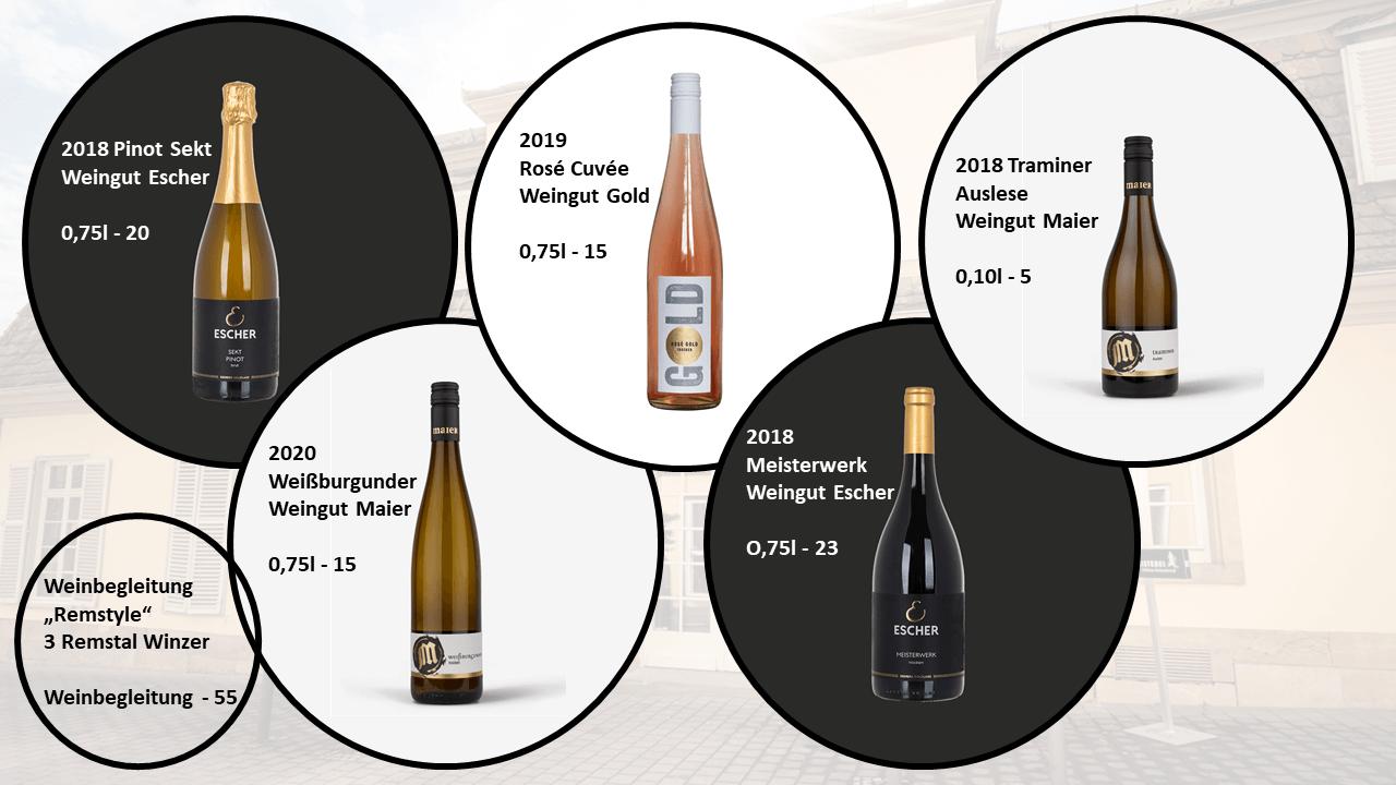 Unsere Weinkarte für das Pfingst-Menü der Speisemeisterei
